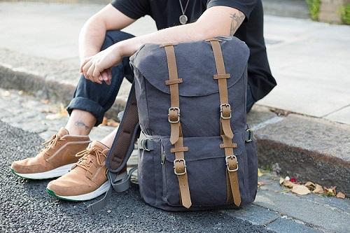 mochila de lona retro vintage con correas marrones tamaño grande para pc portatil