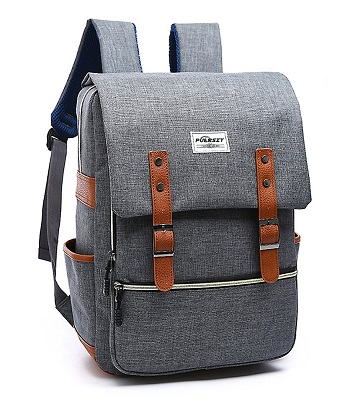 bolsa estilo vintage con cremalleras y correas, color gris con bolsillos