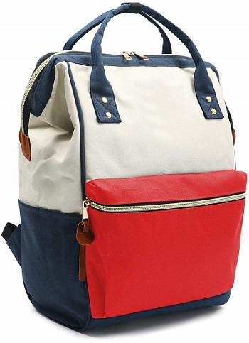 mochila retro de colores con asas para espalda, con cremallera y bolsillo en frente, barata economica